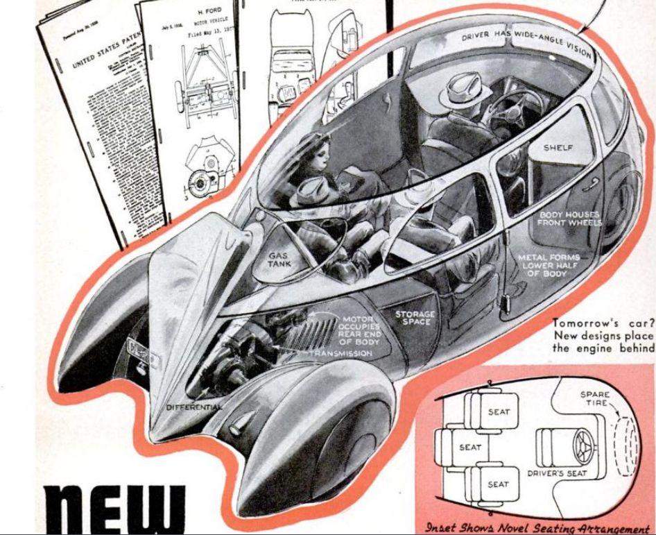 Futuristic Car Cutaway 1940