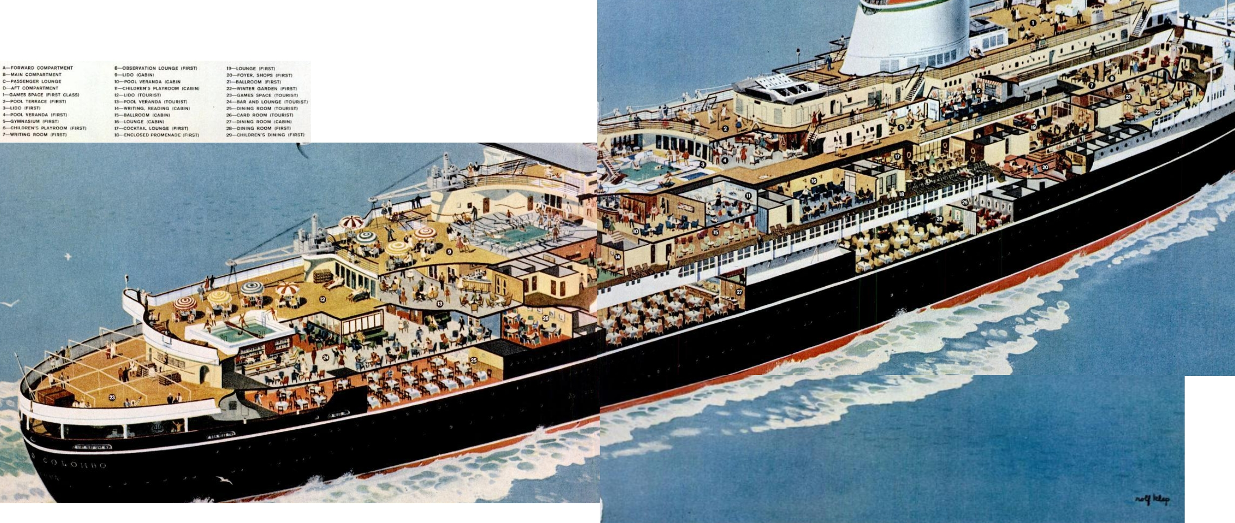 Oceanliner Cristoforo Columbo Cutaway, 1955