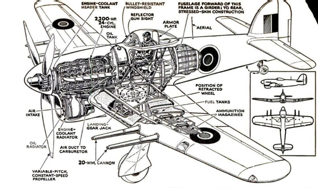RAF Typhoon Fighter Aircraft Cutaway Drawing, 1944