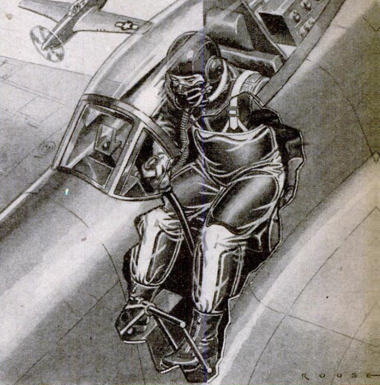 WWII Fighter Plane Cutaway Showing Gravity Suit 1945