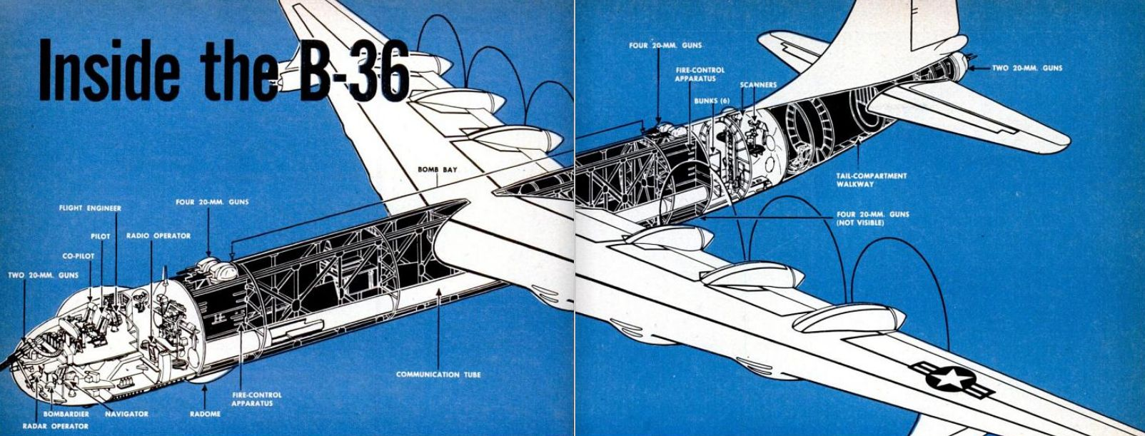 Cutaway Drawing of Convair B-36 Bomber, 1950