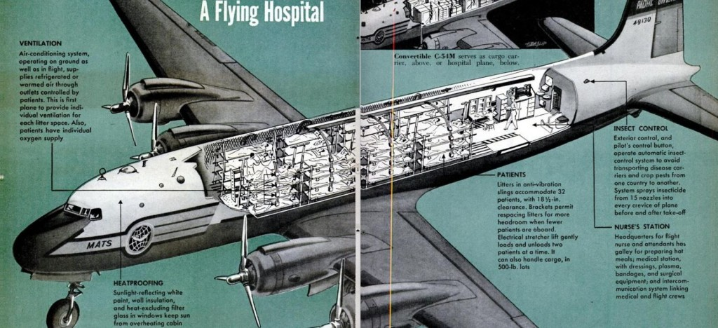 Douglas Skymaster C54M Flying Hospital Cutaway 1951