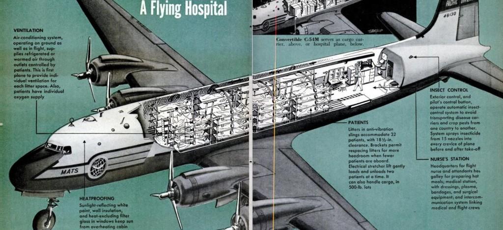 Douglas Skymaster C54M Flying Hospital Cutaway 1951