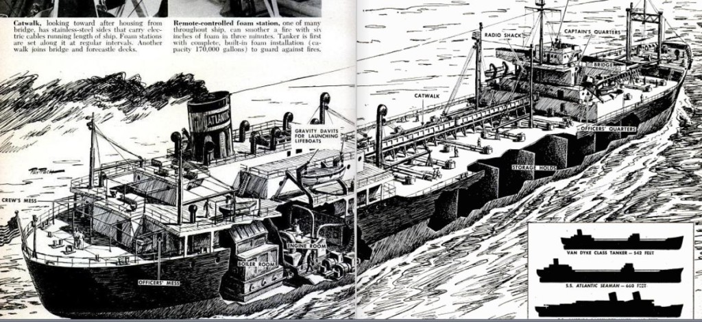 S.S. Atlantic Seaman Oil Tanker Cutaway 1951