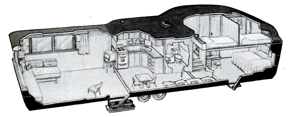2 Story Travel Trailer Cutaway 1952