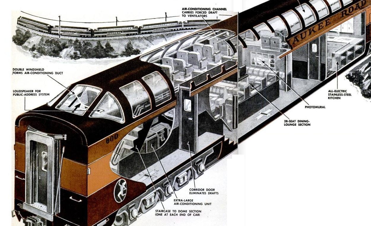Super Dome Train Car Cutaway 1952
