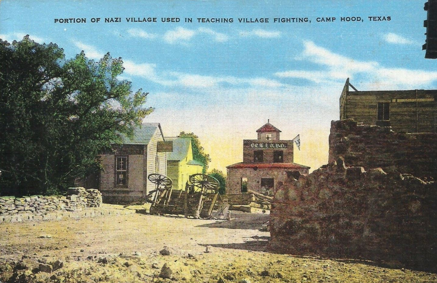 Camp Hood Nazi Training Village Postcard