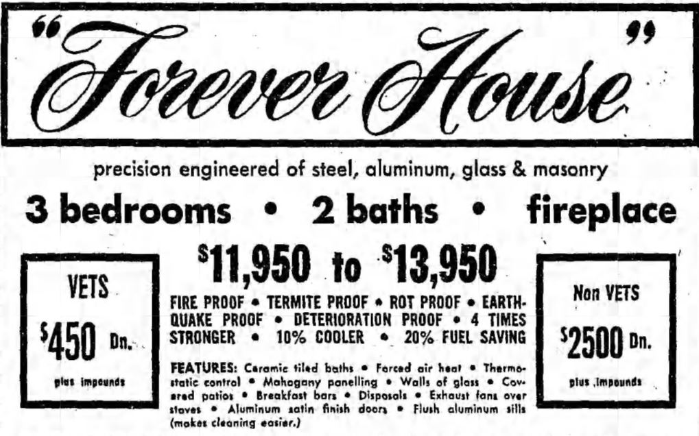 Forever House Ad, LA Times - 1953