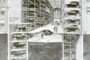 Elevator-Style Garage Car Park Cutaway, 1920