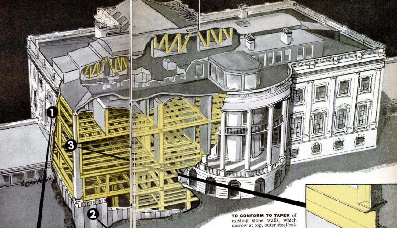 White House Cutaway Drawing, 1950 - Invisible Themepark on white house lighting, white house driveway gate, white house fire, white house heckler, white house renovations 1947, white house aerial view, white house jumper, white house mosque, white house architecture, white house truman balcony, white house 1960, white house 6 floors, white house secrets, white house drone crash, white house snow removal, white house 1963, white house clothing, white house interior, white house 1812, white house scaffolding,