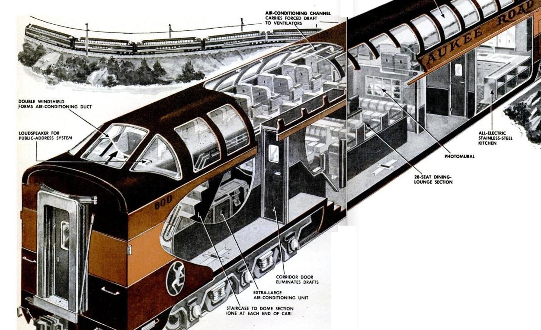 super dome train car cutaway 1952 invisible themepark. Black Bedroom Furniture Sets. Home Design Ideas