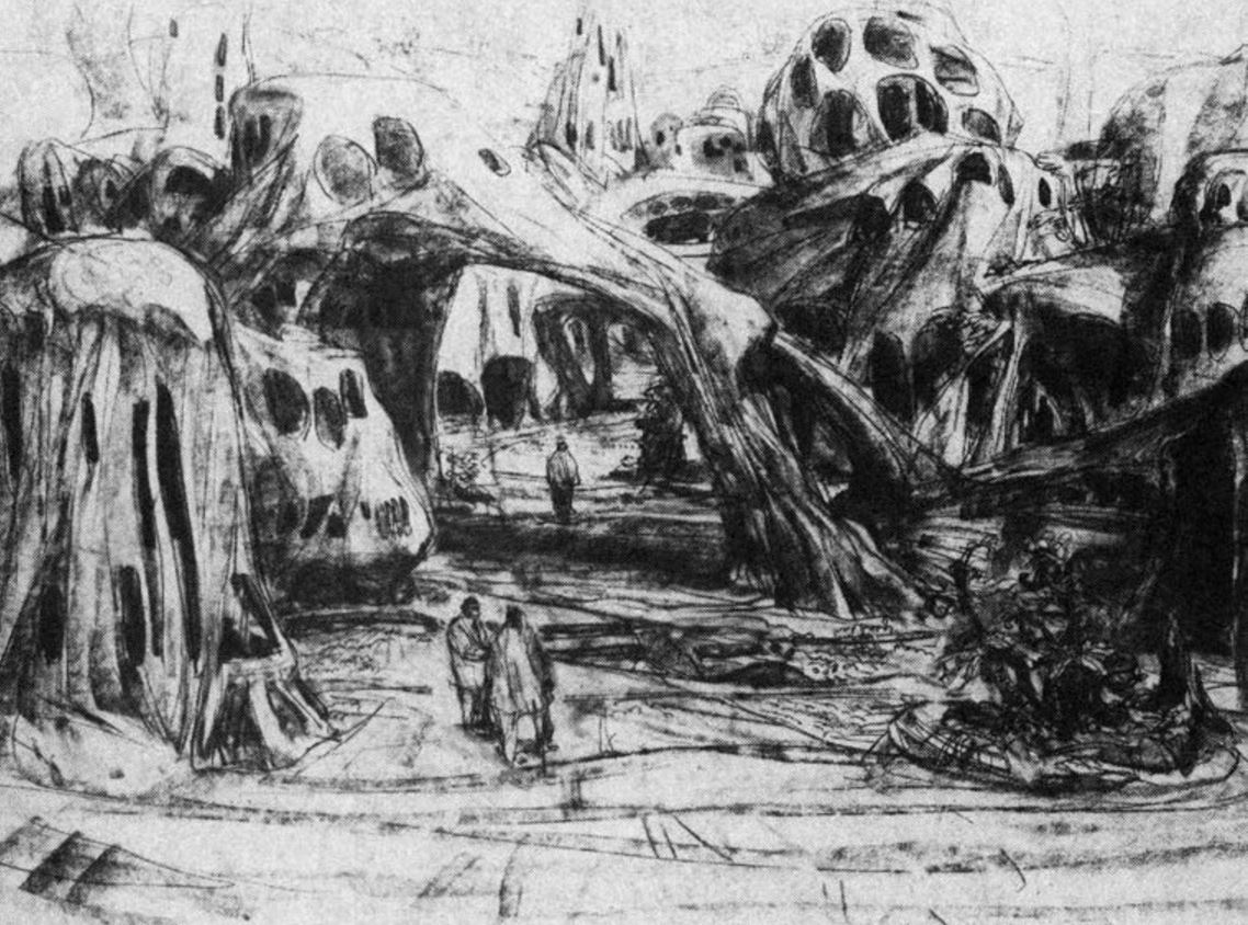 Planet of the Apes 1968 Concept Sketch of Ape Village - Mentor Huebner