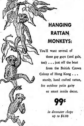 Vintage Hanging Rattan Monkeys