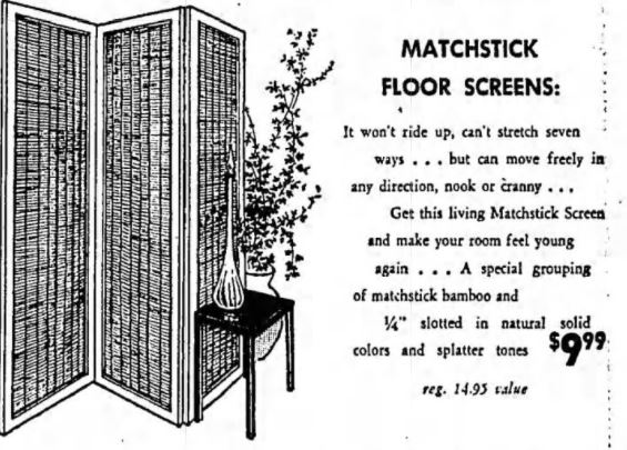 Vintage Matchstick Floor Screens