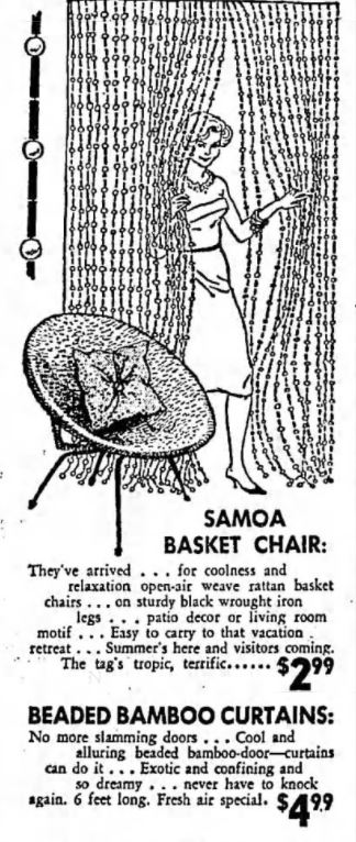 Vintage Samoa Basket Chair and Beaded Bamboo Curtains