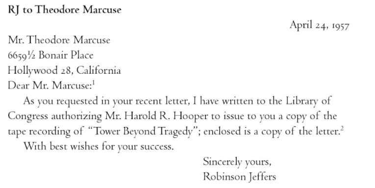 Robinson Jeffers to Marcuse